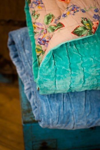Velvet blanket with floral cotton lining