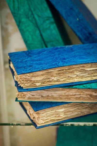 Handmade paper notebook pile