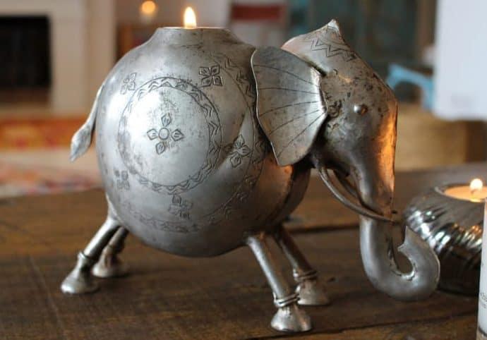 Brass elephant tea light holder