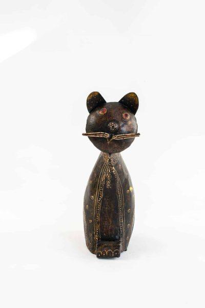 Brown metal cat watering can
