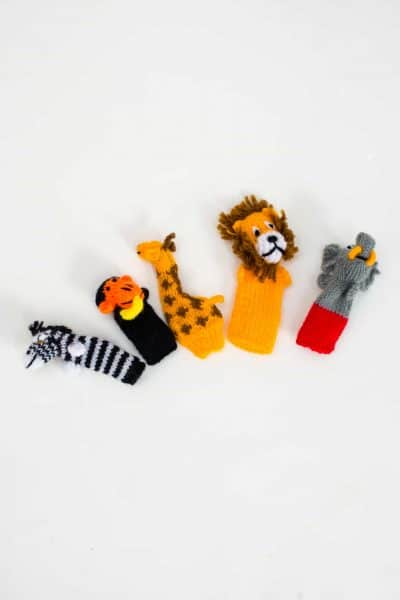 hand knitted finger puppets