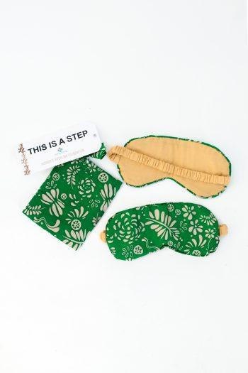 silk eye mask with matching green leaf bag