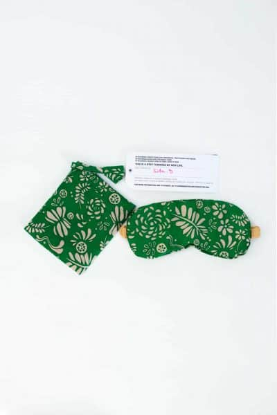 green leaf silk eye mask with matching bag