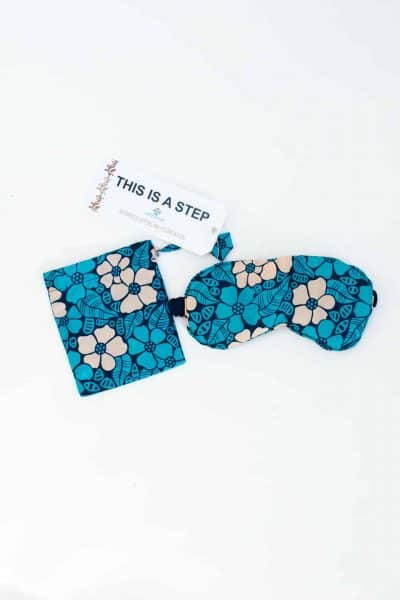 blue floral eye mask with matching bag