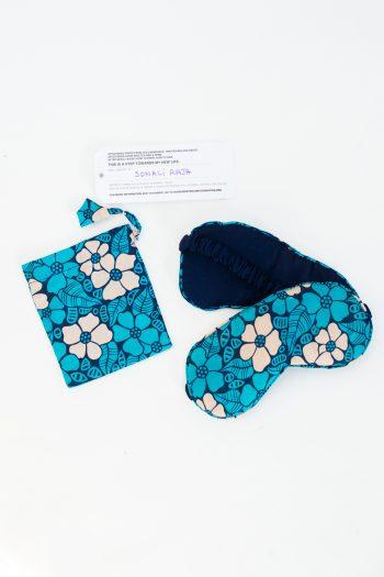 blue floral eye mask and bag