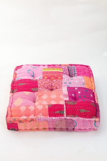 square floor cushion in pink patchworks