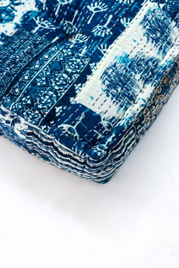 indigo print floor cushion