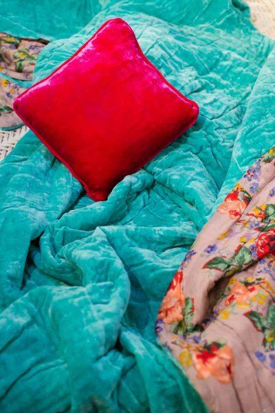 pink velvet on turquoise velvet
