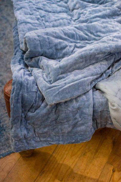 blue velvet bedspread