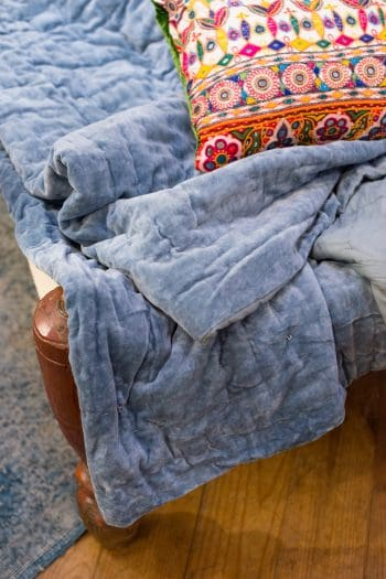 powered blue velvet bedspread with matching cotton lining