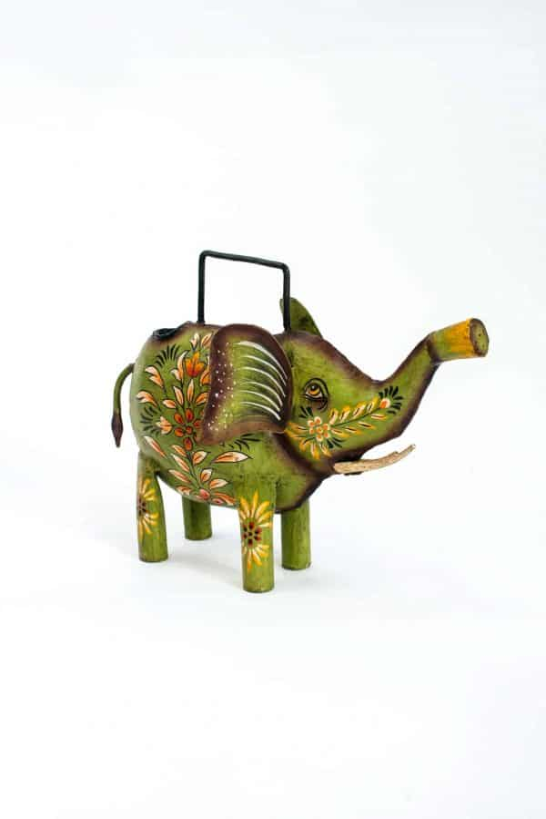 Green elephant shaped watering can