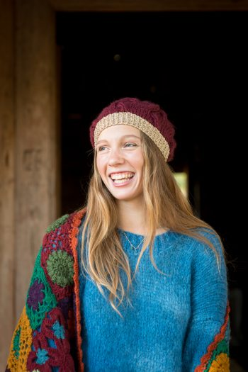 soft winter jumper with a crocheted scarf and beanie hat