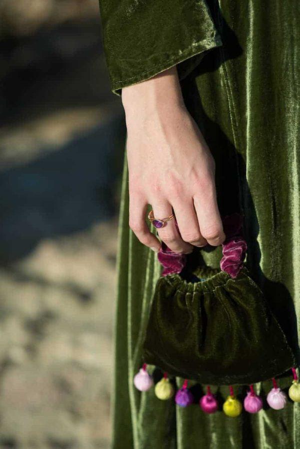 green velvet Sufi coat and bag