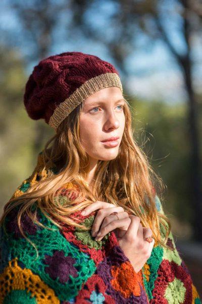 burgundy beanie hat