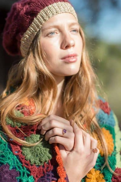 autumnal colours on a knitted hat and shawl