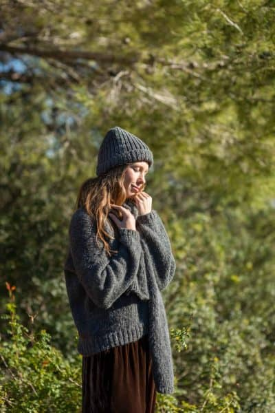 grey wool jumper, scarf and hat