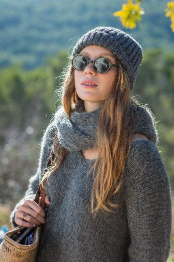 grey alpaca wool jumper and scarf worn with matching hat