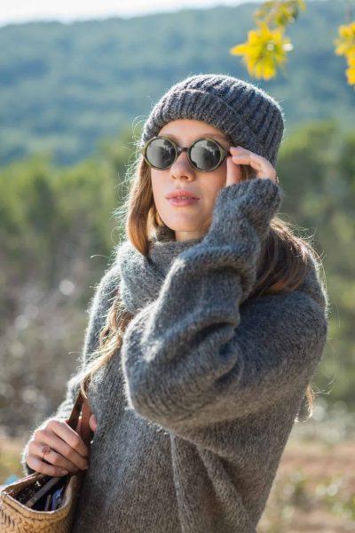 grey wool alpaca jumper and hat