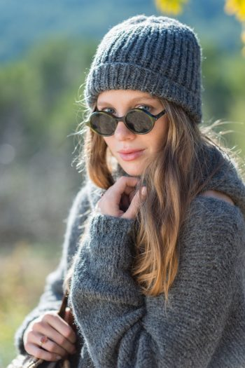 alpaca grey wool jumper with hat and scarf