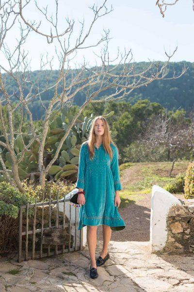 turquoise silk velvet knee length dress with sequins