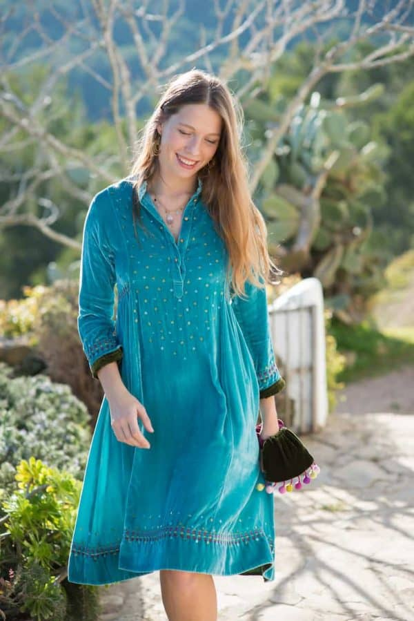 velvet dress in turquoise with sequins and running stitch detail