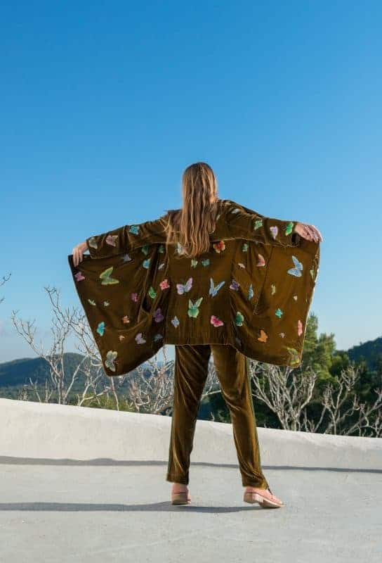golden olive green jacket with colourful butterfly embroidery
