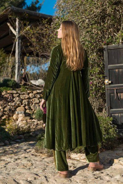 back view of a long green silk velvet coat