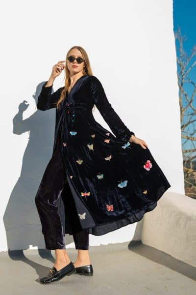 long coat with colourful butterflies