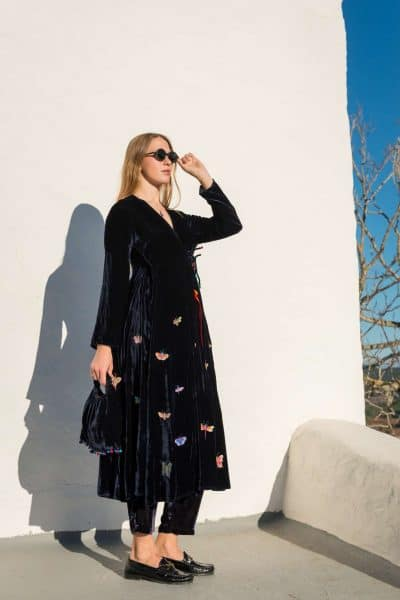 long velvet wrap around coat with butterfly embroidery