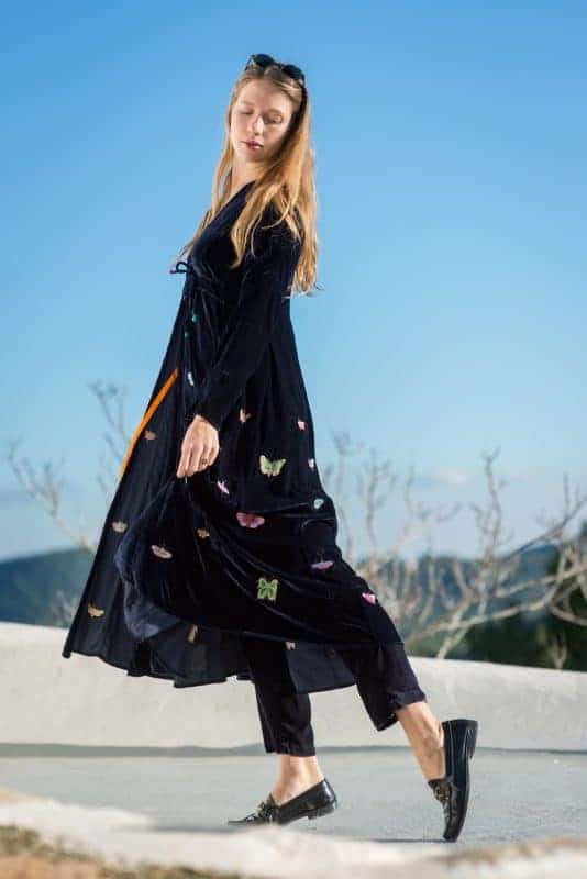 butterfly embroidery on a long velvet coat