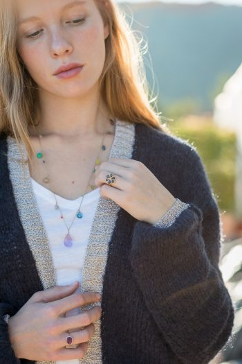 fine jewellery worn with a navy cardigan
