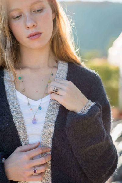 fine jewellery worn with a navy cardigan