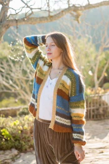 striped cardigan with a metallic gold trim