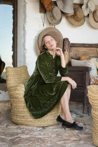 green silk velvet dress with sequins and kantha stitching along the hems