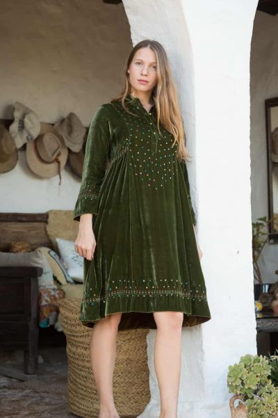 Green velvet dress with sequins and kantha stitch details at the hems