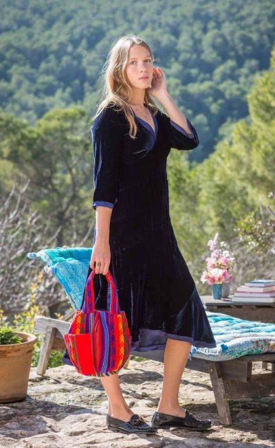 blue velvet dress with silk edges