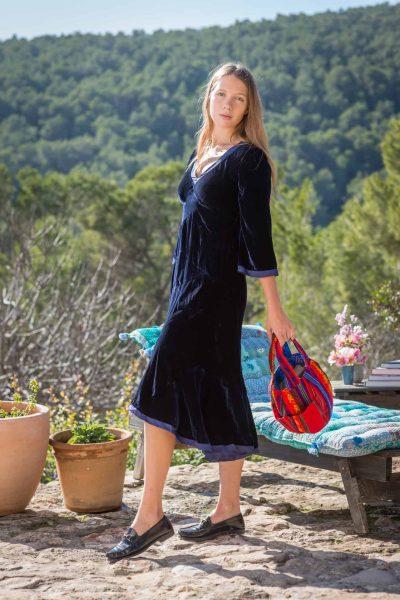 blue velvet dress with silk hems and edges