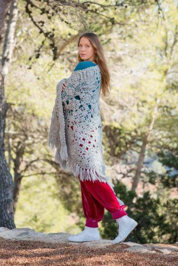 Grey crochet wool shawl