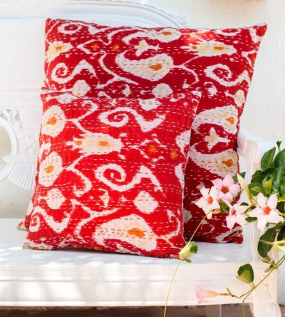 Red square kantha stitch cushions in a ikat print