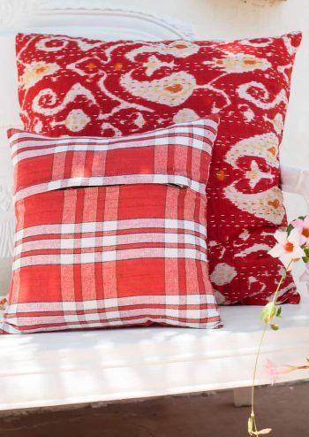 Cotton red square cushions with a kantha stitch