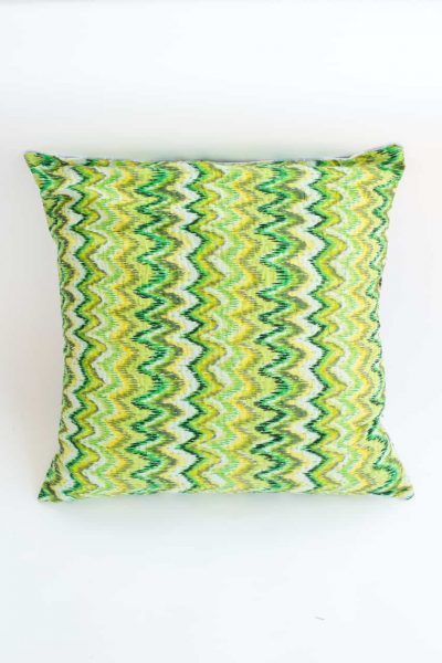 Green kantha stitch square cushion