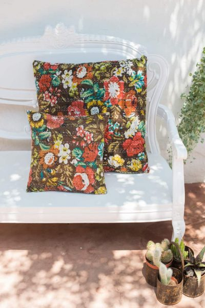 Brown floral square cushions with a kantha stitch