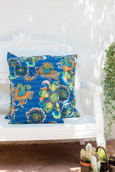 large and small blue floral cushions with kantha stitch