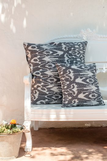 large and small grey ikat cushion with kantha stitch