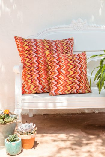 orange and yellow square kantha cushions