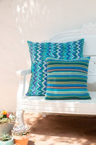 back and front of the blue kantha stitch cushions