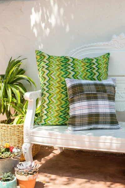 back and front of square kantha stitch cushion