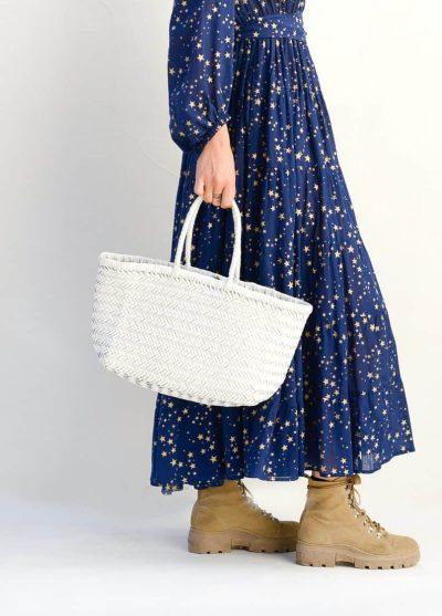 white leather basket