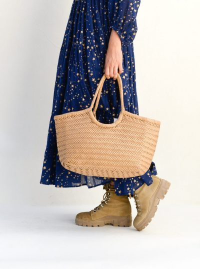 leather basket in a natural colour