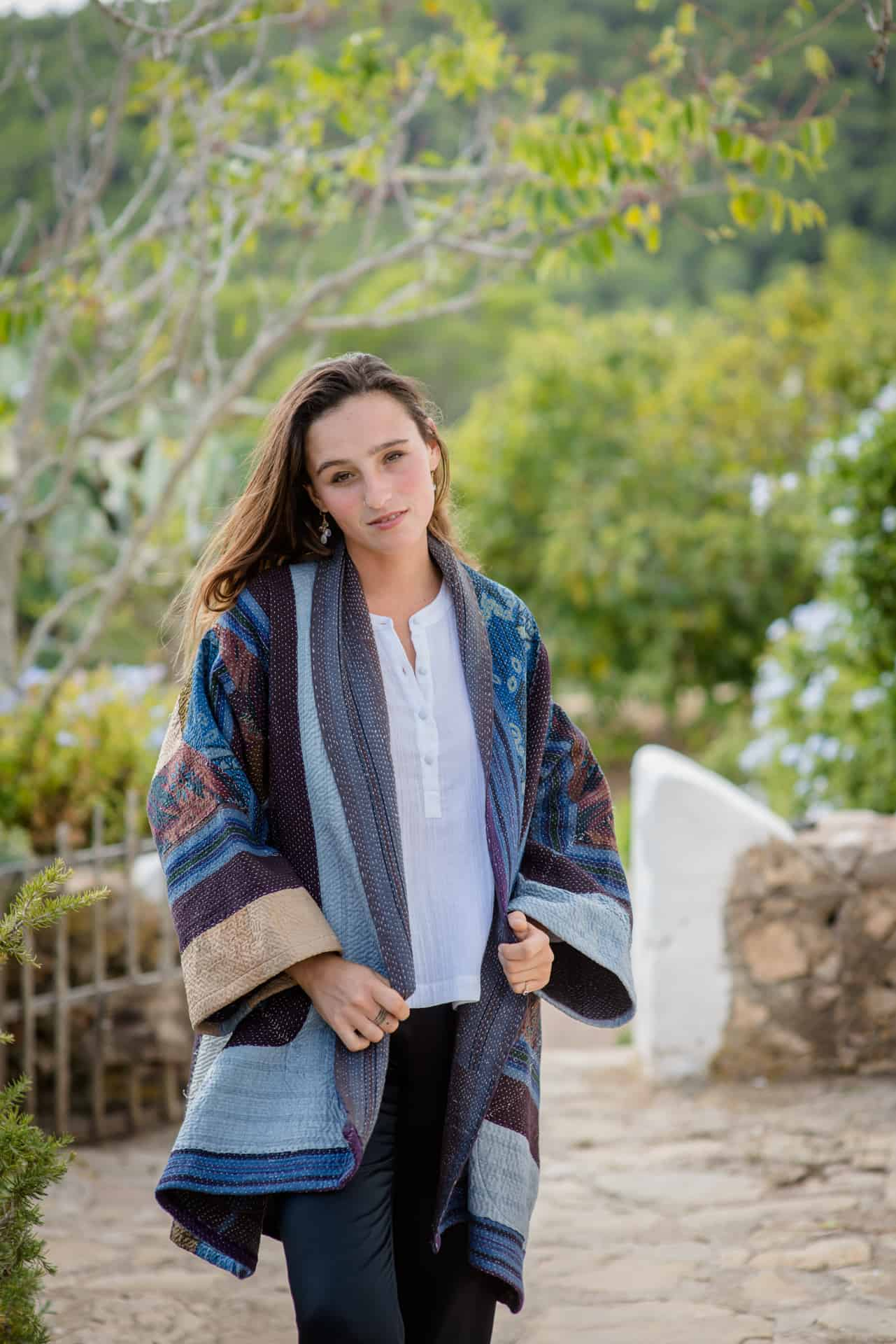 Thick patchwork jacket with a running kantha stitch